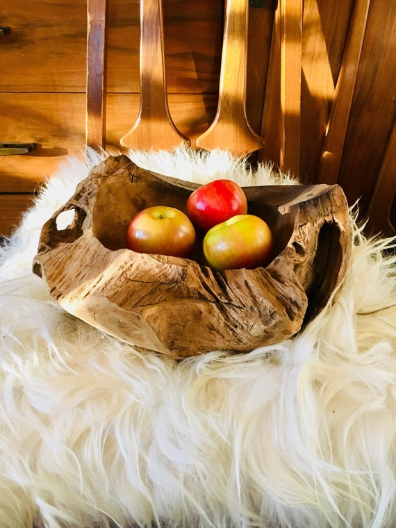 Vintage Large Natural Driftwood Bowl - Made in Indonesia - Extra Large Wooden Bowl