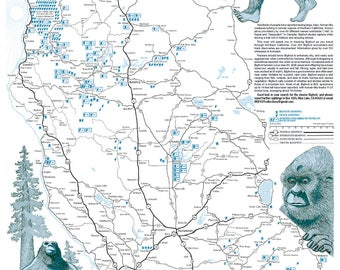 BIGFOOT Country Touring Poster of Northern California  (FREE SHIPPING)