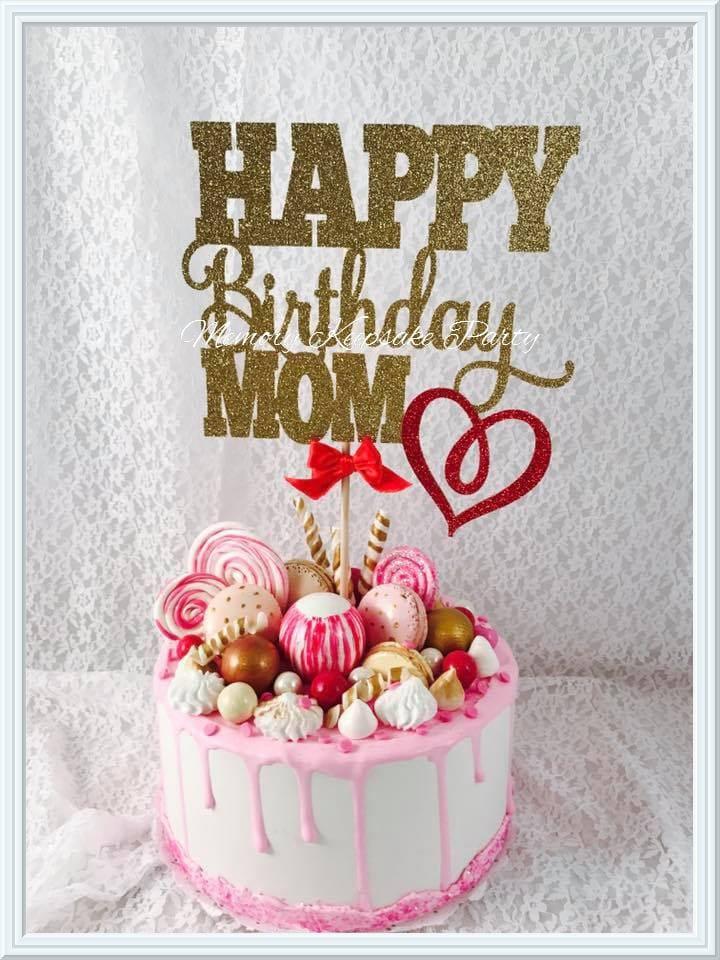 Mom Birthday Cake Topper Mom Birthday Party Decorations Mom