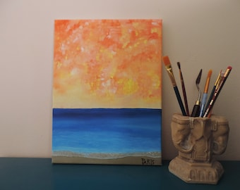 Sunset in Hawaii , Abstract painting original Abstract painting on canvas Surreal painting original Beach painting Abstract painting acrylic