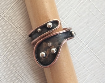 copper and silver wrap ring