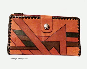Vintage Tooled Painted Leather Wallet / Clutch, Geometric Design