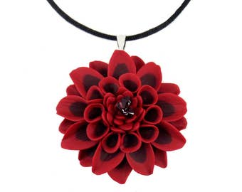 Large Dahlia Cord Necklace  - Hand Sculpted Petals Many Colors Available