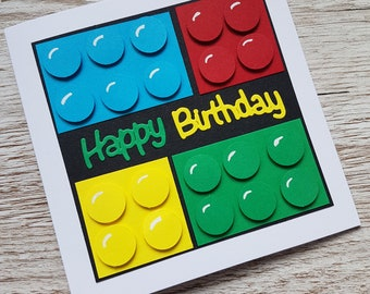 Handmade lego birthday card / building blocks / children's birthday / building bricks