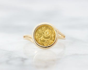 Gold Coin Ring, Vintage 14k Yellow Gold Bezel Set Ring, Unique Promise Ring, Tiny Panda Jewelry, Dainty Minimalist Cocktail Ring Size 6.5
