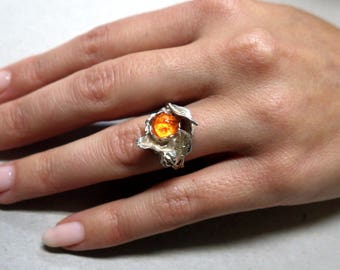 FLORAL DESIGN SILVER and Mexican Fire Opal Ring