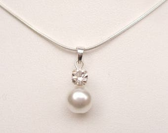 Pearl and diamante drop necklace Sterling Silver bridal necklace pearl wedding necklace cream white pearl pendant BRIDESMAID jewellery gift