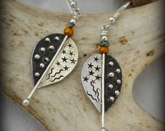 """Sterling silver earrings.  hand stamped, hand fabricated.  """"Weekend celebration"""""""