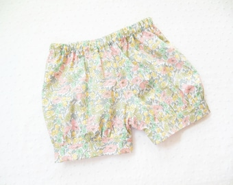 Banded Bubble Shorts for toddler or baby girls - Liberty of London cotton lawn - 12 months to size 6