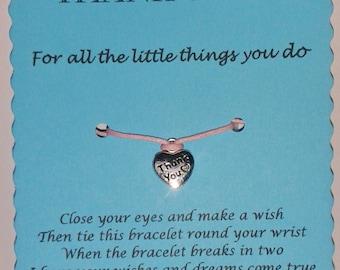 Thank You Gift, Wish Bracelet, Thank you Card, Thank you Jewelry, With Thanks, gift Thank you, Thank you Keepsake, Thank you Note, Thanks