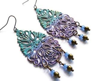 Boho Earrings - Filigree Chandelier Earrings - Verdigris Ombre - vintage style - Purple Turquoise Blue - Antique brass - Gypsy earrings