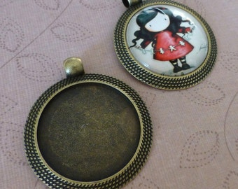 8 pcs Antique bronze large alloy round setting with bail cabochon base 25mm