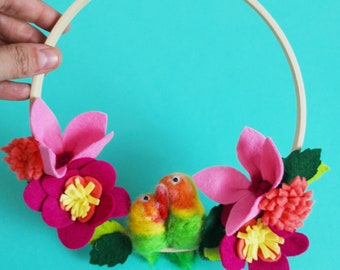 Felt Floral Hoop - Tropical Floral Hoop - Wall Hanging - Home Decor - Love birds - Lovebirds Wall Hanging