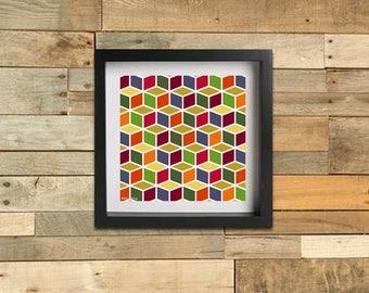 Geometric Cubes - Autumn