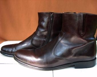 Vintage Men's FLORSHEIM IMPERIAL 18570 Hugo Brown Plain Toe Leather Zip Up  Ankle Boots, 8.5
