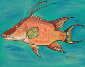 Hog Fish Art Print 5 x 7 Hog Fish, Fishing Gift, Fish Art, Fish Print, Fish Painting, Ocean, Nautical, Nautical Decor, Art