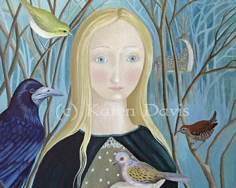 The Smallest Turtle Dove. Woodland/Forest Girl And Bird Print
