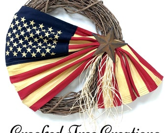 Prim Flag Wreath, Patriotic Wreath, Americana Wreath, 4th Of July, Memorial Day, All Seasons Wreath, Tea Stained Flag Wreath, Veterans Day