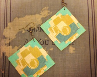 Camera Jewelry on Square Wood Earrings with Turquoise Embellishments