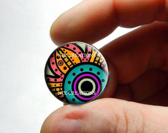 Glass Cabochon - Art Deco Floral Design 11 - for Jewelry and Pendant Making