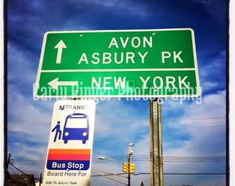 Shore: Direction Sign Asbury Park Avon New York Tile Coaster