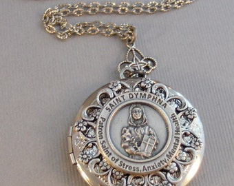 Saint Dymphna,Necklace,Locket,Silver Locket,Saint,Saint of Mental Health,Mental Health,Anxiety Stress,Patron Saint,Dyphna,valleygirldesigns