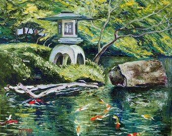 Oil painting Japanese Garden Koi Fish Pond Original Artwork Linen Canvas Home Wall Decor red green blue impressionism landscape 45x52cm