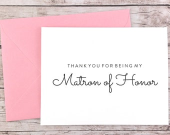 Thank You For Being My Matron of Honor Card, Matron of Honor Thank You Card, Wedding Card, Matron of Honor Gift - (FPS0016)