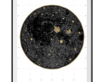 24 Carat Maps - Lunar Landscape 02 | Limited Edition Print | Contemporary Maps | Real 24 Carat Gold Leaf