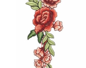 Large flower Iron on / sew on Embroidery Patch Badge Rose Embroidered Floral Motif
