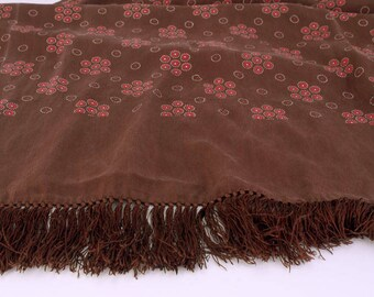 Gents 1950s Brown Silk Scarf with Fringe