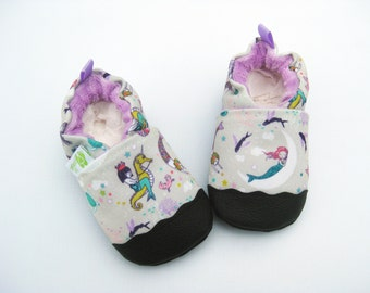Eco-Canvas Vegan Mermaids in Lavender / non-slip soft sole baby shoes / made to order / babies toddlers preschool