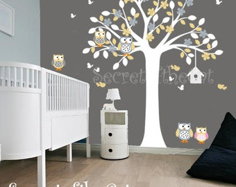 Nursery Wall Decal-Wall Decal Nursery - Tree with Ows and Birds