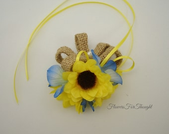 Mini Sunflower Ring Pillow Topper, Rustic Woodland Wedding, Flower Girl Corsage, Made to order, FFT original design