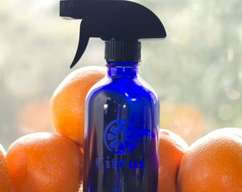 Citrus- Etched GLASS 8oz Spray Bottle for any Citrus Essential Oils