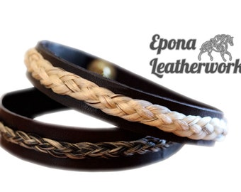 Horsehair Leather Bracelet - Custom Bracelet - Your Own Horsehair - Equestrian Jewellery - Epona Leatherworks
