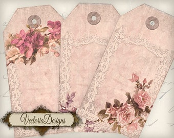 Shabby Chic Pink Flower Tags printable gift tags instant download digital Collage Sheet VD0502