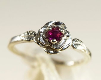 Ruby Ring, Genuine 3mm Round Gemstone Petite Rose and Leaf 925 Sterling Silver Ring