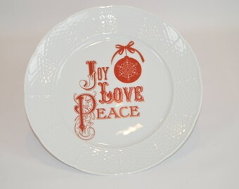 """Lauryn 10"""" white plate (shown with image# x84 - joy, love, peace)"""