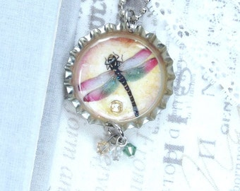 Dragonfly Necklace Insect Necklace Dragonfly Gift Nature Necklace Dragonfly Jewelry Bottle Cap Necklace