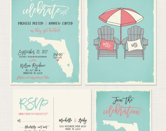 Florida - substitute with your state - Wedding Invitation RSVP Set with adirondack beach chairs DEPOSIT Payment