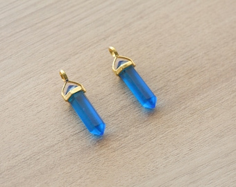 1 pcs of Blue Crystal Glass Point Pendant With Gold Plated Pendant - Gemstone Pendants