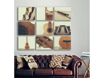 Guitar Wall Art, Acoustic Guitar Parts Vintage Color Tone, Set of Nine Stretched Canvas Prints, Music theme, guitar room, Music Decor