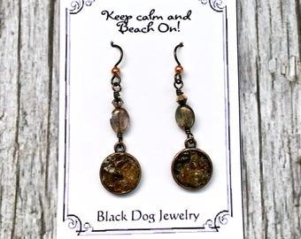 Brown Sea Glass Dangle Earrings - Beach Glass - Vero Beach Florida - Crushed Sea Glass Jewelry - Faux Druzy - Beach Wedding