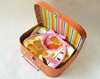 Baby gift set - retro flowers pink orange yellow