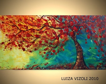 FALL BREEZE 72x36 Original Modern Abstract Tree Landscape Oil Painting Large Canvas