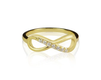 Infinity Ring with Sparkly Cubic Zirconia and 100% Safe to Get Wet • Gold Plated Silver • Wear it to Circulate Your Wishes and Desires