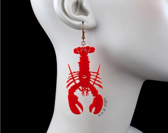 Lobster Earrings - Laser Cut Acrylic (C.A.B. Fayre Original Design)