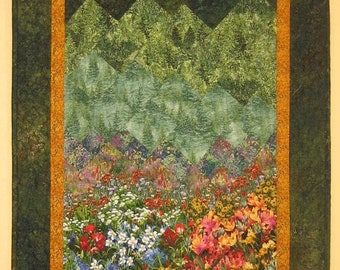 """Lake Tahoe Summer Art Quilt Fall Trees, Flowers and Mountains, Fabric Wall Hanging, Wall Decor, Landscape Textile Art 24 x 56"""""""