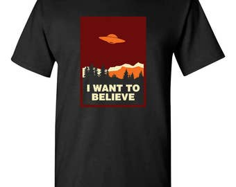 I Want To Believe Alien UFO Adult Mens T-shirt 100% Cotton Black
